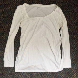 White long sleeve maternity shirt